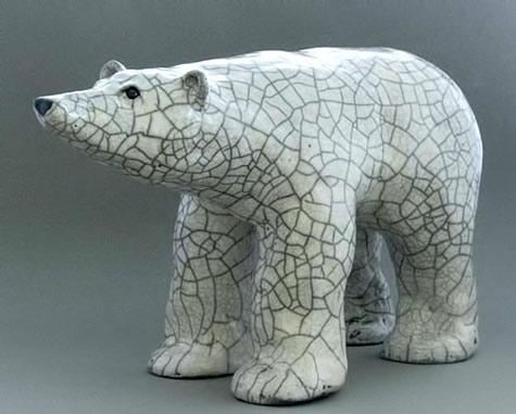 raku_14_inch_polar bear by Jane-Murray-Smith