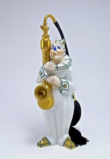 1920s-French-atomizer, decorated porcelain clown playing saxaphone