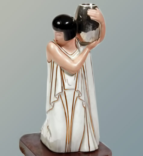 Argilor. Paris. Woman in the vase.-Circa 1925 1935.-Night-light-burner-perfumes-enamelled-porcelain-polychrome