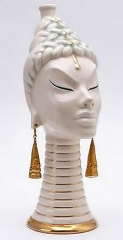 White and gold ceramic Siamese perfume bottle