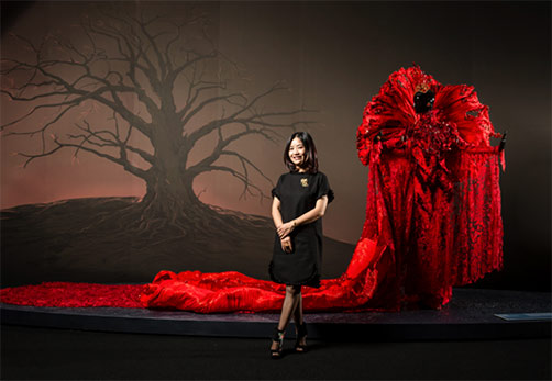 Chinese fashion designer Guo Pei with her 2017 Legend Collection