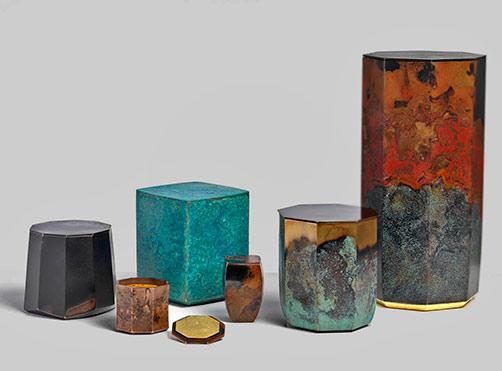 Koji Hatakeyama cast bronze boxes selection - Erskine Hall and Coe