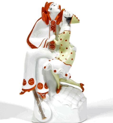 Werkstatt Eigene. Fraureuth. Kunstabrellung.-Pierrot and Colombine.-Circa 1925-1935.-Subject-enamelled-porcelain-polychrome.-Wear-the-EW-monogram-on-the-fold.-Height-27