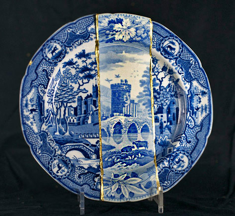 Cumbrian-Blues-Collaged-Ceramics-by-Paul-Scott conjoined ceramic plates