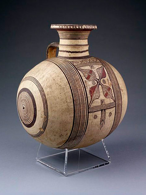 Barrel shaped-jar with one handle,-earthenware,-wheel-thrown-and-painted-in-black-and-red-on-a-buff-coloured-slip,-Cyprus,-ca.-750-600-BC.