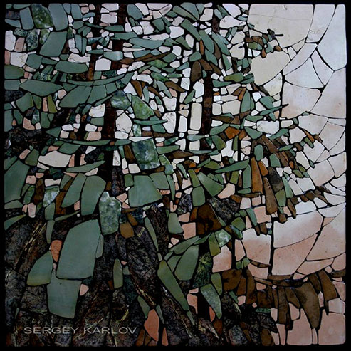 Evening Study on 'Forest mosaic'---relief-mosaic-Moscow 2005-Easel-mosaic---Sergey-Karlov