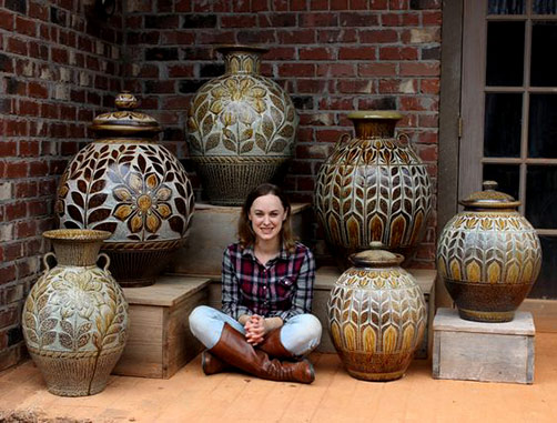 Kate-Johnston with her large pot collection