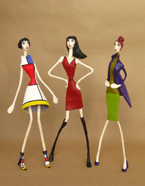 Mauricio Perez - 3 paper mache fashion models