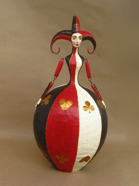 Mauricio Perez-female-jester in red,gold,black and white