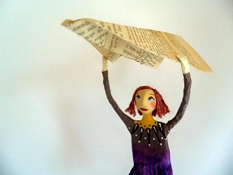 Natalia Mendoza papier mache girl figure