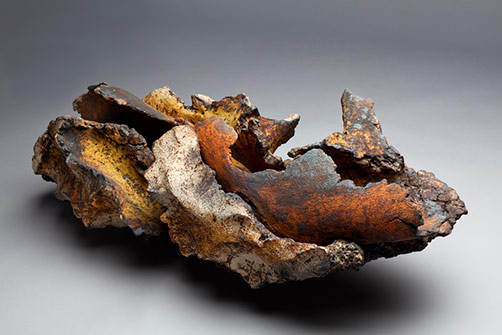 Pascale Lehman - ceramic sculpture of combined individual pieces with earthy tones