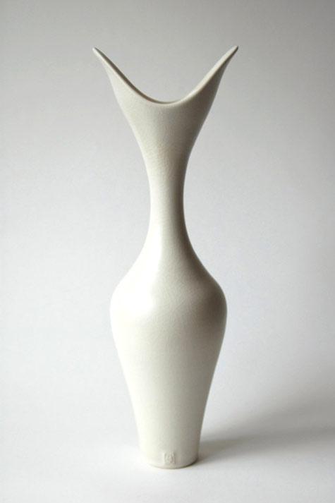 Vivienne Foley Tall Forked Vase-ivory-crackle-glazed-porcelain-44-cm