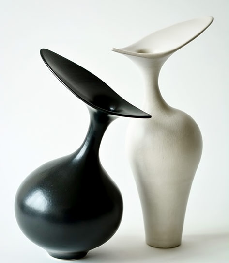 Vivienne Foley-pair of vases with wide asymmetrical lips