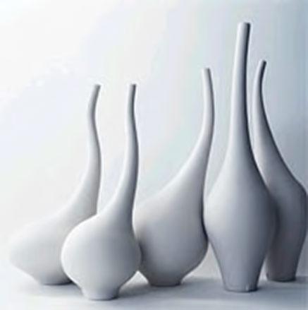 Vivienne-Foley-sculptural-ceramics - combined group of white free form vases