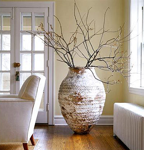 Extra large pottery vase with textured surface