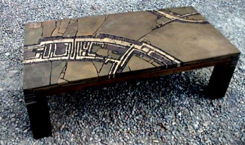 Stone mosaic table by Sergey Karlov
