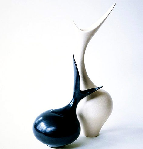 Vivienne Foley-sculptural porcelain art - black and white vase combo