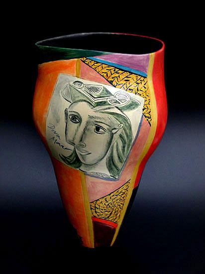 Ingrid Saag ceramic vase with Picasso style motif