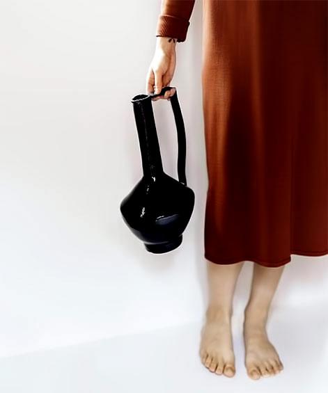 Nicolette Johnson-black glaze pitcher with long handle