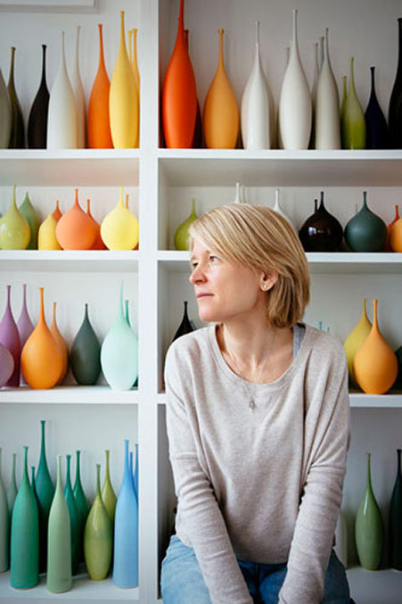 Sophie Cook with her colorful vases