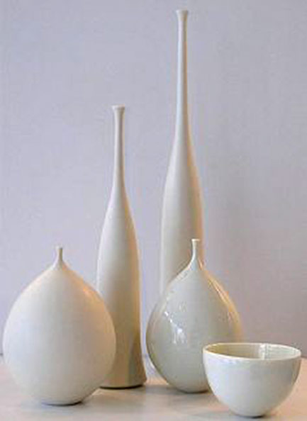 Collection of white porcelain vessels by Sophie Cook