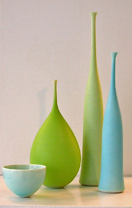 Sophie Cook contemporary vases in turquoise and lime green